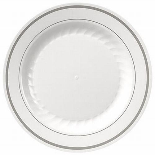 Masterpiece White Silver Trim Premium 9 Inch Plastic Plates Party