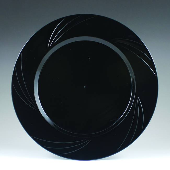 Black Newbury 10-3/4-inch Heavy Duty Elegant Plastic Plates & Black Newbury 10-3/4-inch Heavy Duty Elegant Plastic Plates: Party ...