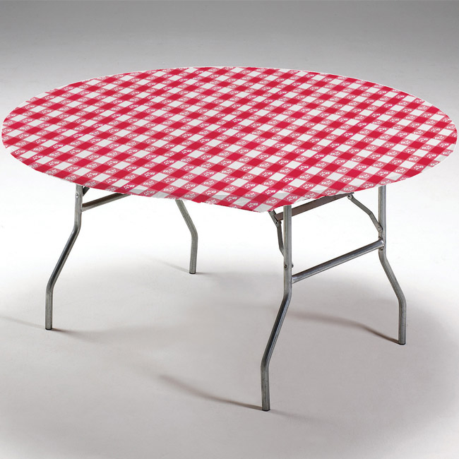 Red Gingham Round Stay Put Elastic Fitted Plastic Tablecloth Party