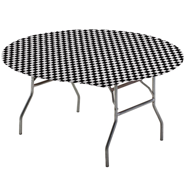 Black Checker Round Stay Put Elastic Fitted Tablecloth Party At
