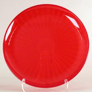 red serving platter round 16inch