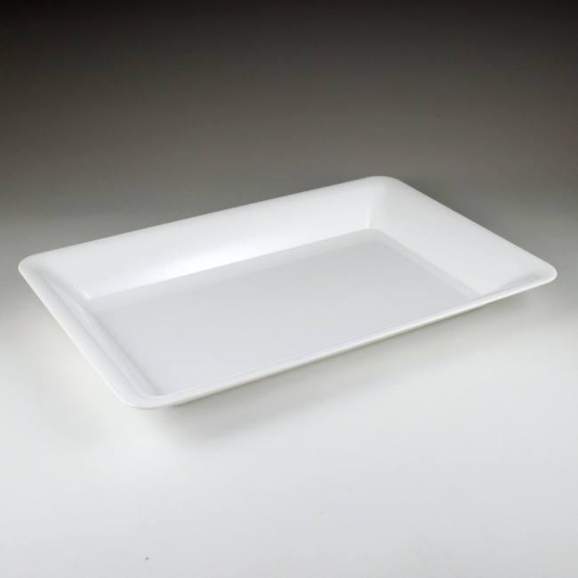 White Plastic Rectangular Serving Tray 14  x 10  Rigid Plastic & White Plastic Rectangular Serving Tray 14