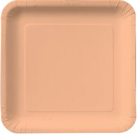 Square Paper Plates 9 Inch Heavy Peach