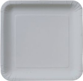 Square Paper Plates, 9-inch Heavy, Silver: Party at Lewis Elegant ...