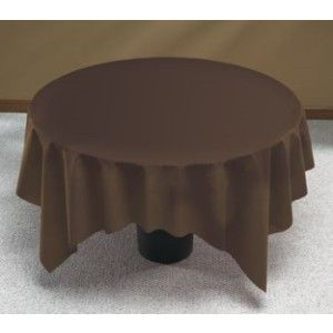 Nice Linen Like Brown Round Table Cover