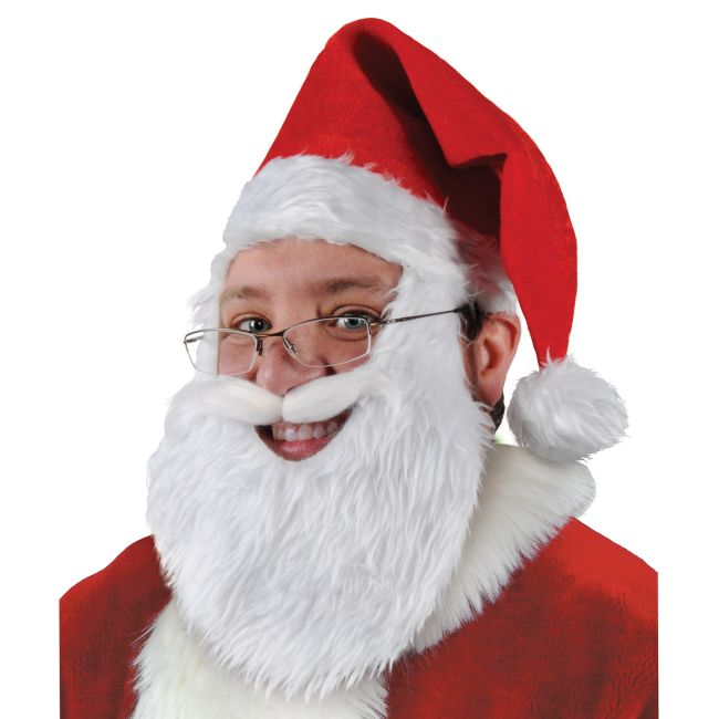 9a0b0e0de2ac7 Plush Santa Hat with Beard  Christmas Party Decorations