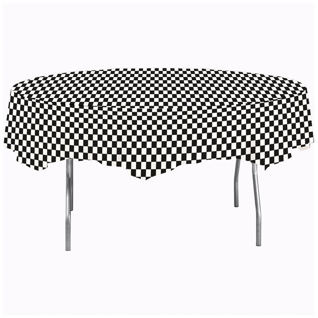 Black Check Octy Round Plastic Tablecloth