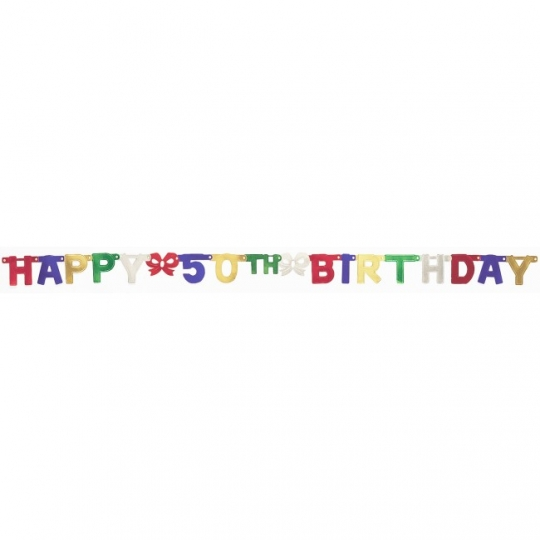 Happy 50th Birthday 6 Foot Jointed Banner Party At Lewis Elegant Supplies Plastic Dinnerware Paper Plates And Napkins