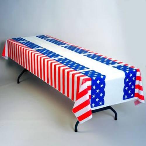 Stars And Stripes Plastic Tablecloth 100 Roll Patriotic