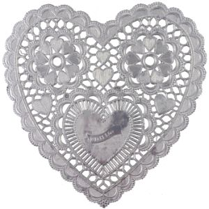 Silver Heart 3 1 2 Inch Paper Lace Doilies
