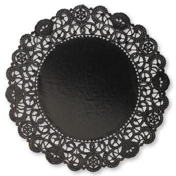 Foil Round Lace 5 Inch Doilies Black