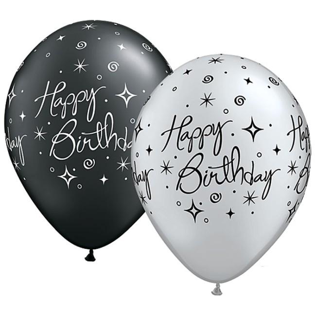 Happy Birthday Elegant Sparkle Qualatex Balloons Fancy Latex Balloons
