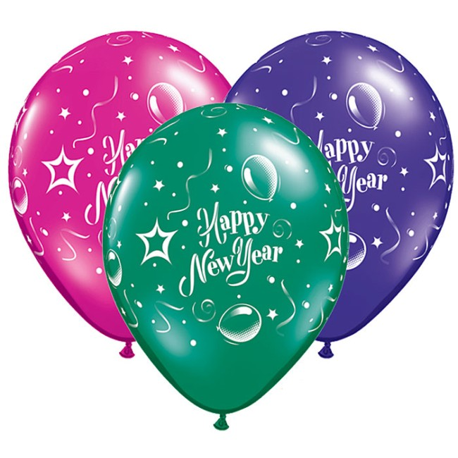 happy new year 11inch qualatex balloons