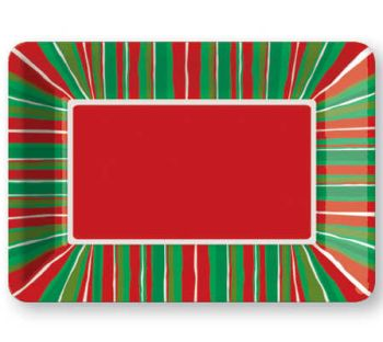 Christmas Stripe Plastic Serving Tray: Holiday Plastic Dinnerware ...