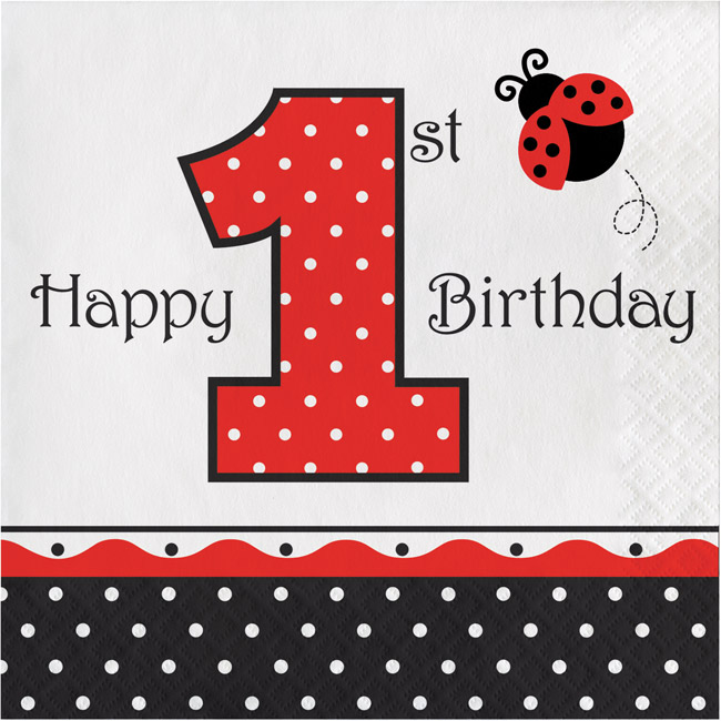 Ladybug Fancy 1st Birthday 3 Ply Lunch Napkins Party At Lewis Elegant Supplies Plastic Dinnerware Paper Plates And