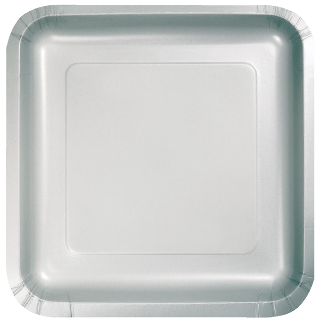 Silver 7-inch Square Deep Dish Paper Plates  sc 1 st  Party at Lewis & Silver 7-inch Square Deep Dish Paper Plates: Silver Paper and ...