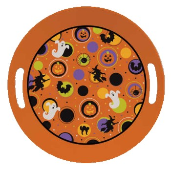 Halloween Plastic Serving Tray 10  Round Tray w/Handles  sc 1 st  Party at Lewis & Halloween Plastic Serving Tray 10