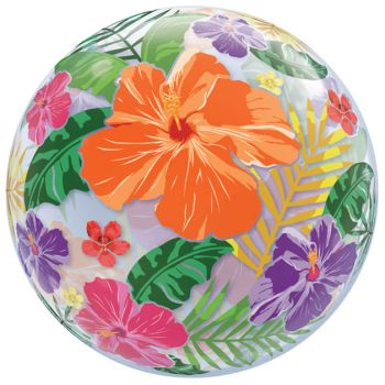 Tropical Hibiscus Garden Bubble Balloon  sc 1 st  Party at Lewis : hibiscus paper plates - pezcame.com