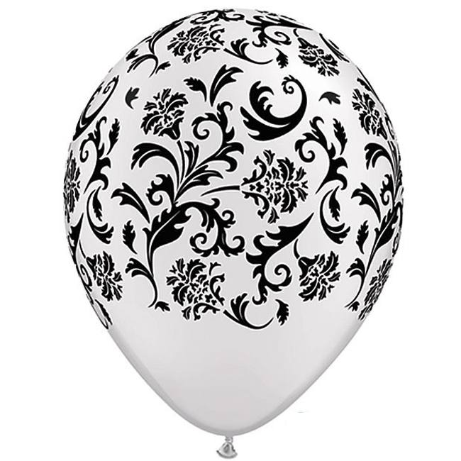 Damask White u0026 Black Qualatex Balloons  sc 1 st  Party at Lewis & Damask White u0026 Black Qualatex Balloons: Party at Lewis Elegant Party ...