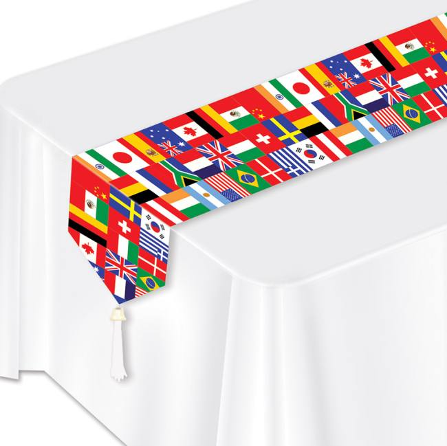 International flags laminated paper table runner for International theme decor