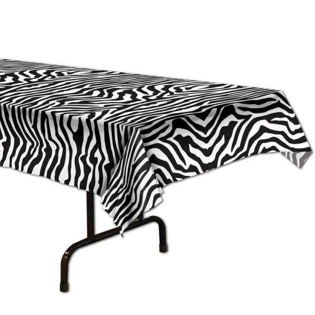 Zebra Print Plastic Tablecloth: Tablecloths & Table Skirts