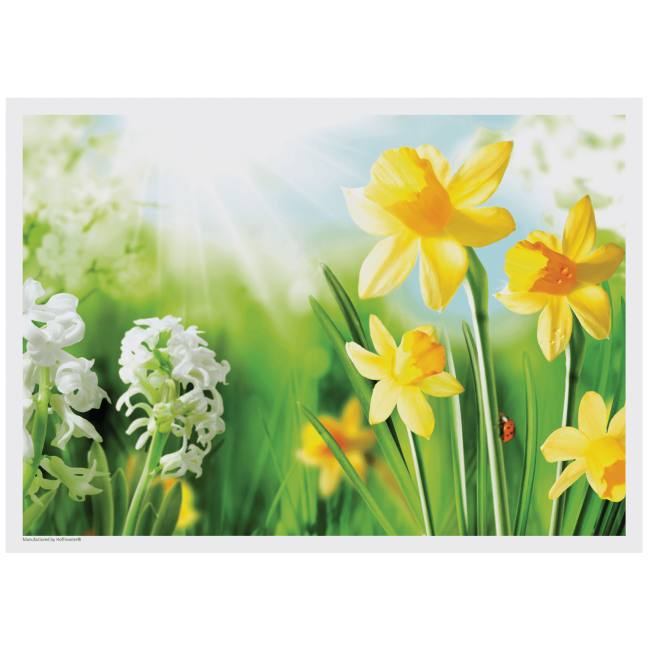 spring flowers placemats daffodils  printed paper placemats