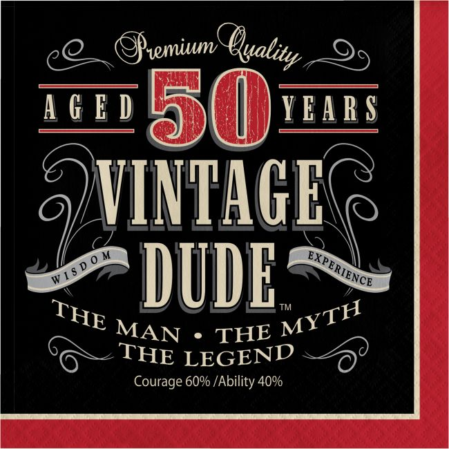 Vintage dude th birthday ply lunch napkins