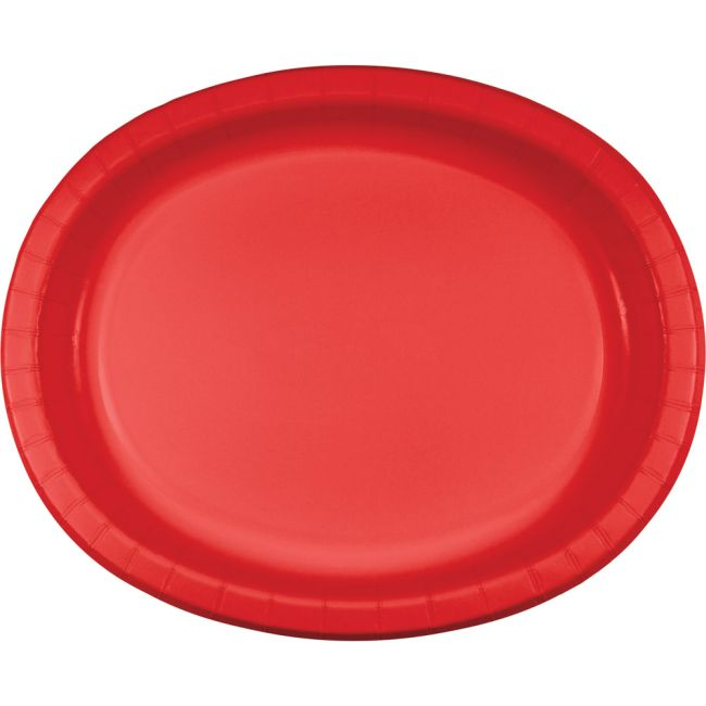 Red Sturdy Style 12 Inch Oval Paper Plates Red Paper And