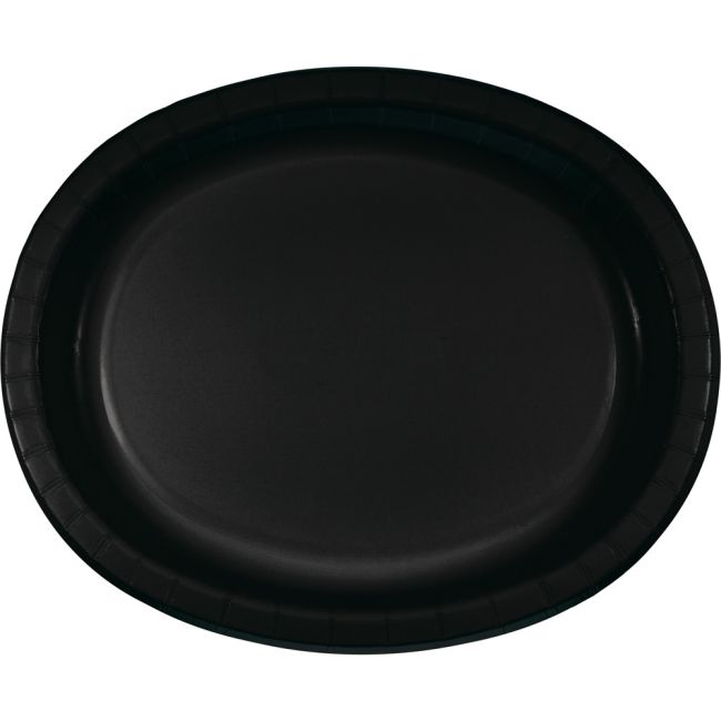 Black Sturdy Style 12 Inch Oval Paper Plates Party At
