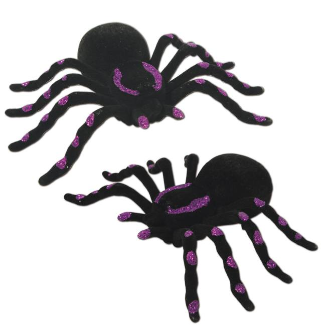 Glittered spiders halloween decorations for Animated spider halloween decoration