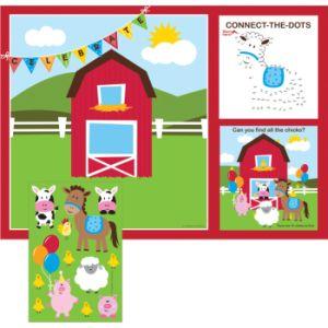 Farmhouse Fun Kids Activity Placemats W Stickers