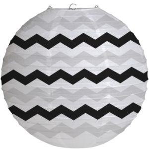 Black Chevron Stripe Wire Paper Lantern