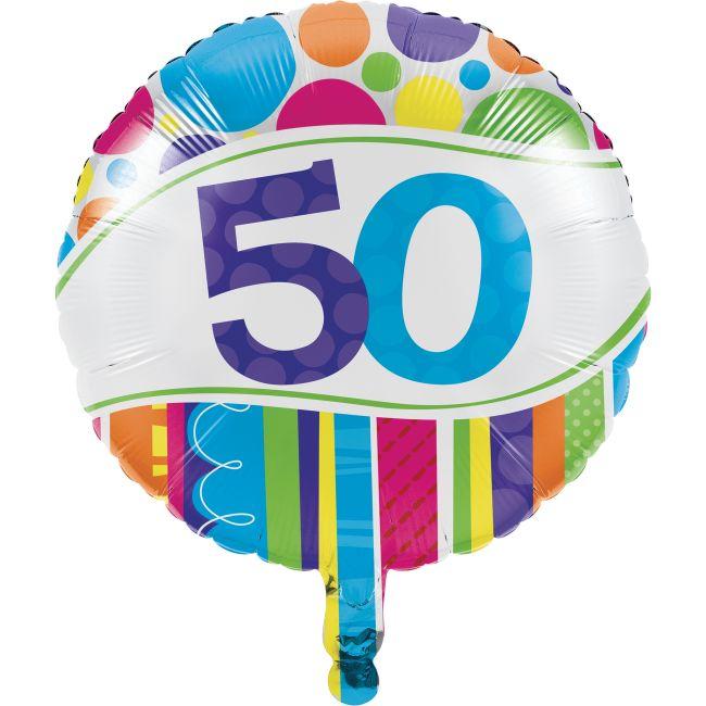 Bright Bold 50th Birthday Foil Balloon