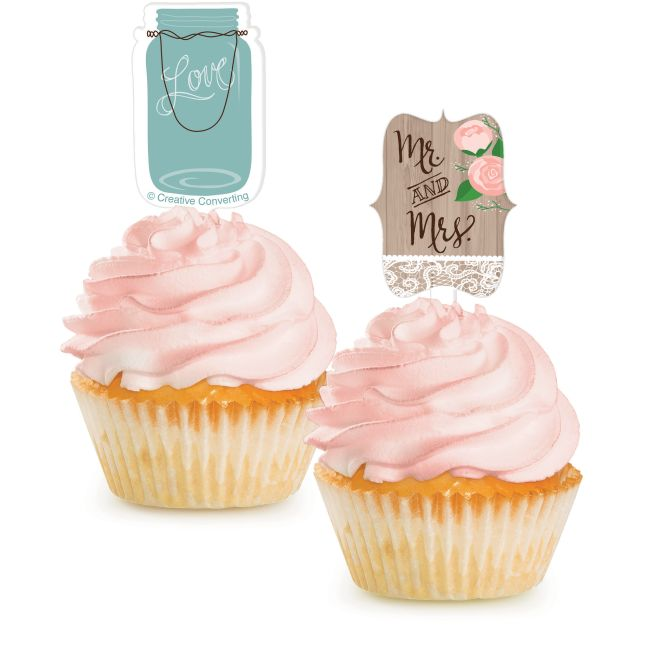 Rustic Wedding Cupcake Toppers