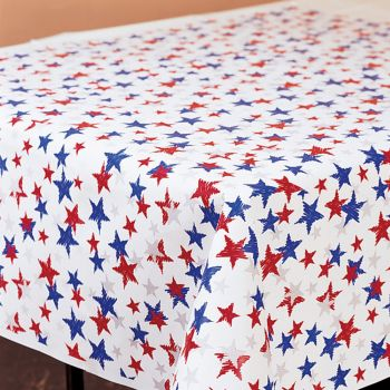 Red, White And Blue Stars Plastic Tablecloth Roll 100u0027