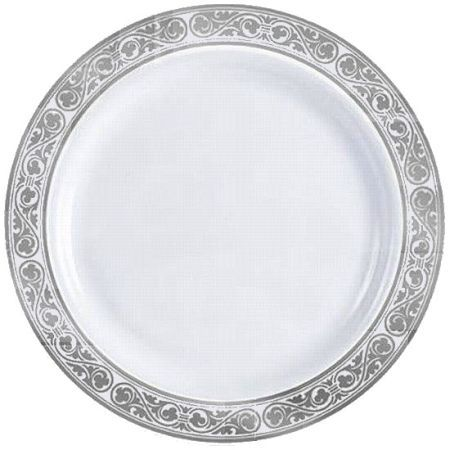 Simcha Royalty Plastic Dinner Plates 10 25 Inch Silver Trim Party At Lewis Elegant Supplies Dinnerware Paper And Napkins