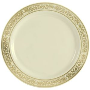 Perfect Simcha Royalty Plastic Dinner Plates 10.25 Inch Gold Trim