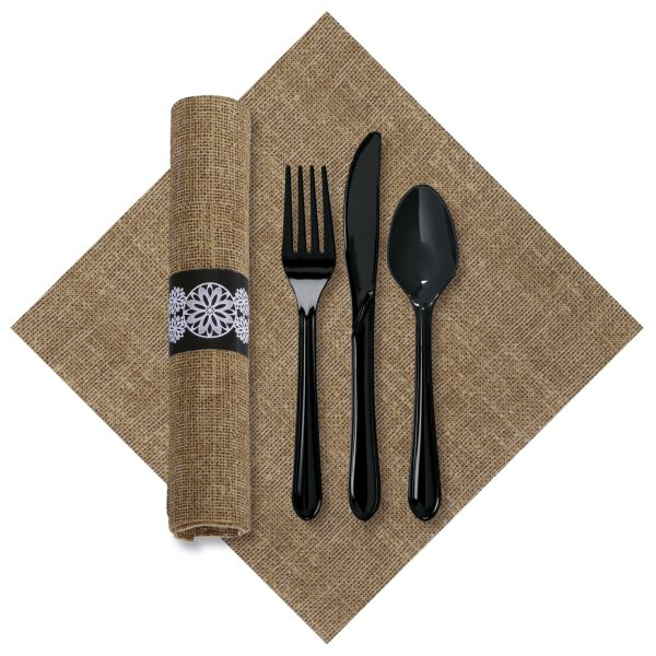 FashnPoint Caterwrap Burlap Printed Napkin/Black Cutlery: Party at ...
