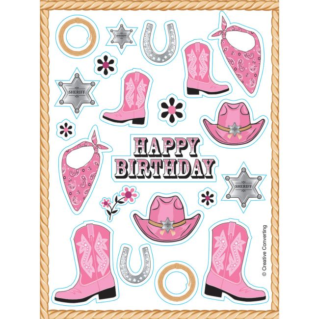 Pink Bandana Cowgirl Value Stickers  Party at Lewis Elegant Party Supplies ebeddbbb8e2d