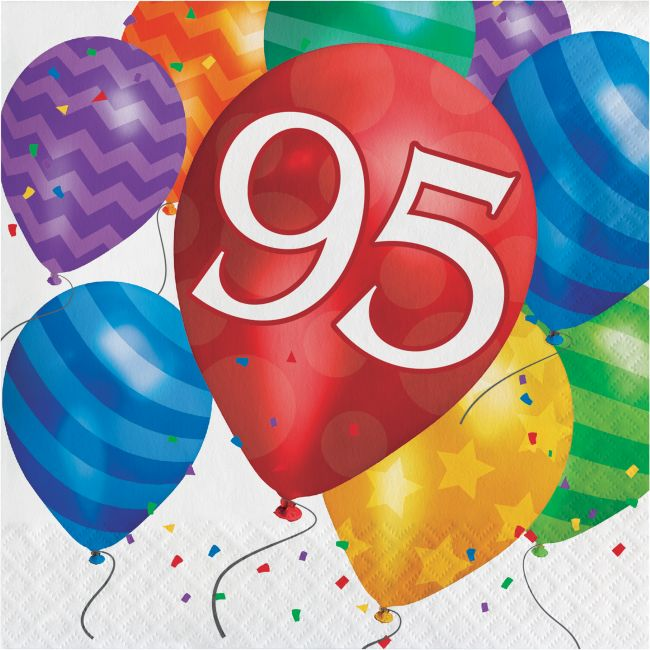 Balloon Blast 95th Birthday Lunch Napkins Party At Lewis Elegant Supplies Plastic Dinnerware Paper Plates And