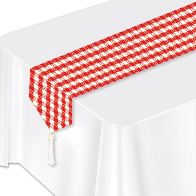 Paper Table Runners For Party: Red Gingham Laminated Paper Table Runner: Party At Lewis