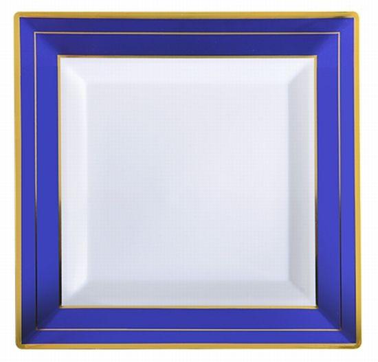Cobalt Blue W Gold Trim Square Plastic Plates 10 Inch