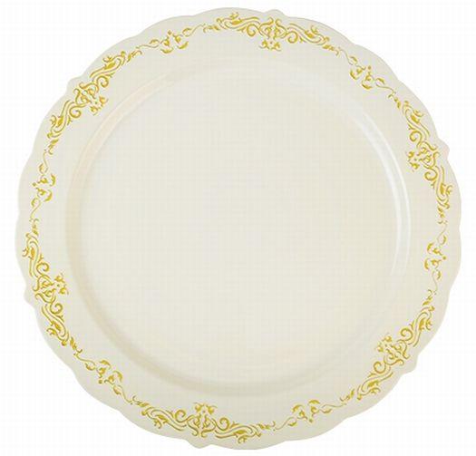 heritage bone w gold trim plastic dinner plates 10 inch