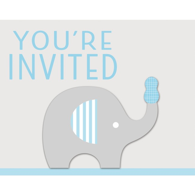 Little Peanut Boy Blue Elephant Baby Shower Invitations Party At
