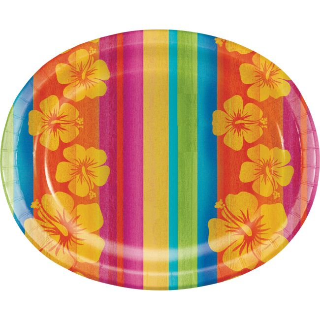 Sunset Stripes Hibiscus 12-inch Oval Plates  sc 1 st  Party at Lewis & Sunset Stripes Hibiscus 12-inch Oval Plates: Party at Lewis Elegant ...