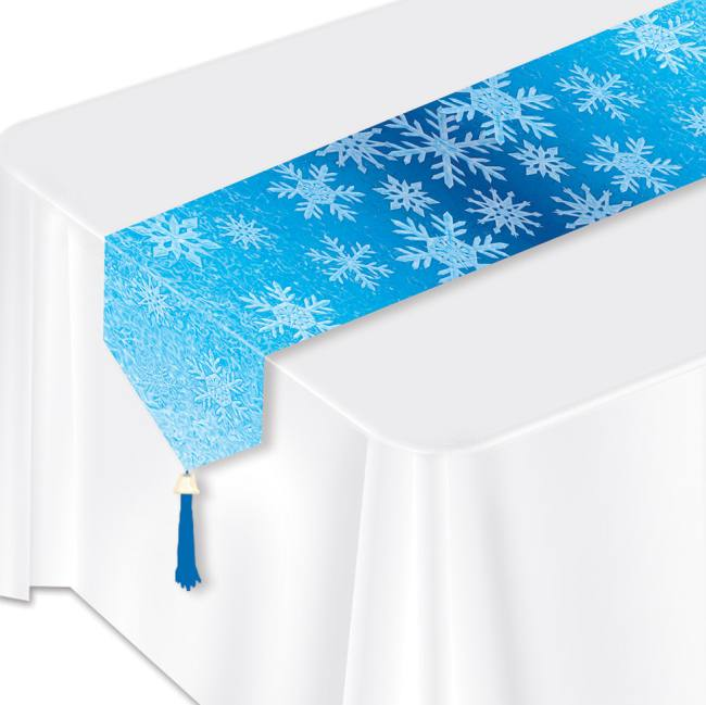 Paper Table Runners For Party: Snowflakes Laminated Paper Table Runner: Party At Lewis