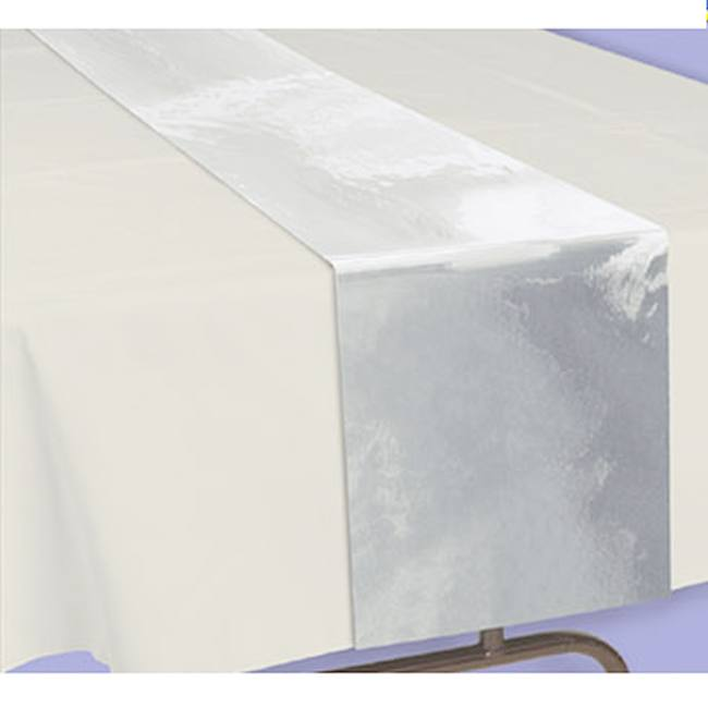 Silver Metallic Table Runner 20 Foot Roll Party At Lewis