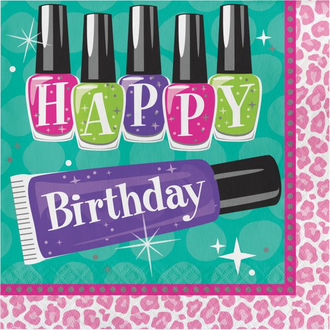 9440624cc55 Sparkle Spa Happy Birthday Lunch Napkins  Party at Lewis Elegant Party  Supplies