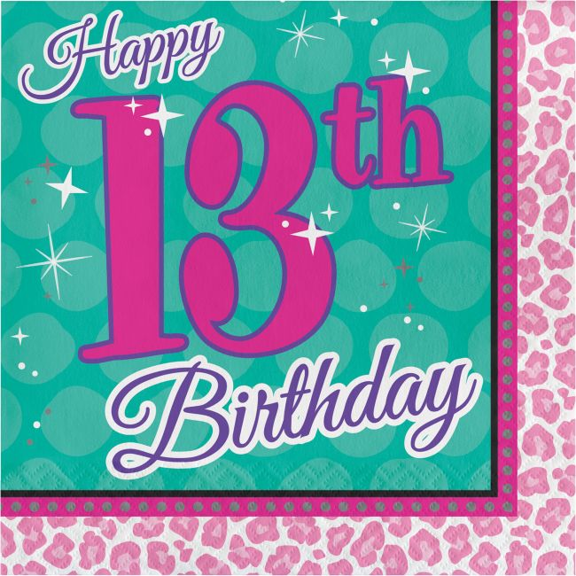 c31285718d3 Sparkle Spa Happy 13th Birthday Lunch Napkins  Party at Lewis Elegant Party  Supplies
