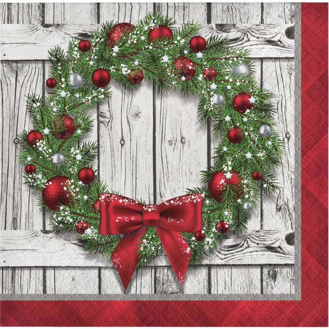 Christmas Paper Plates And Napkins.Rustic Christmas Wreath Beverage Napkins